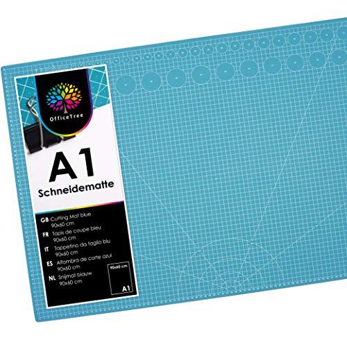 OfficeTree Base de Corte A1 Azul - Tabla de Corte Patchwork 90x60 cm - Alfombrilla de Corte A1 - para Patchwork Costura y Manualidades
