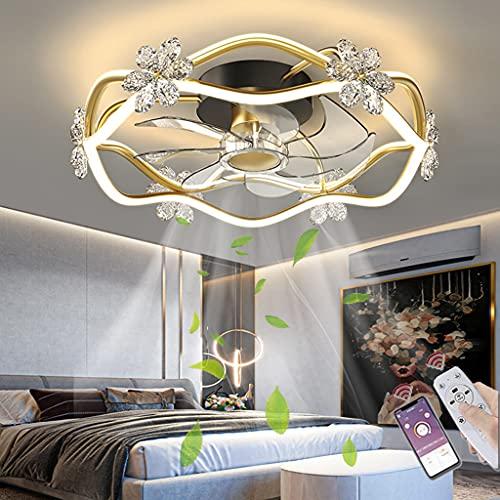 Ventilador De Techo De Cristal Con Iluminación LED Con Control Remoto APP Luces De Techo Modernas Ventilador Regulable Lámpara Dormitorio Sala De Estar Habitación Infantil Comedor Lámpara De Techo