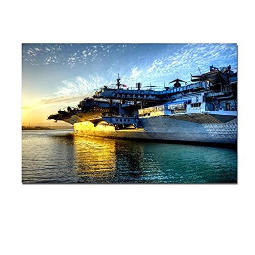 Lefgnmyi Portaaviones USS Midway Sunset Seascape Pintura sobre lienzo Cuadro de pared para sala de estar Sofá Decoración-24x32 IN Sin marco