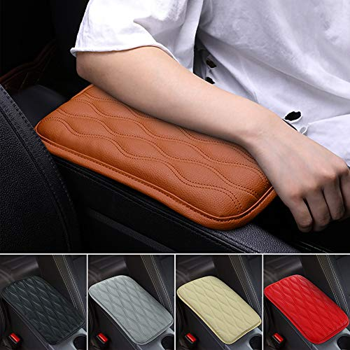 SUHU Brown Auto Center Console Cover Pad Universal Fit for SUV/Truck/Car, Waterproof Car Armrest Seat Box Cover, Leather Auto Armrest Cover
