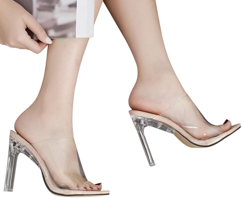 Xinantime Womens Stiletto Sexy Transparent Peep Toe Lucite Sandals Dress Sandals