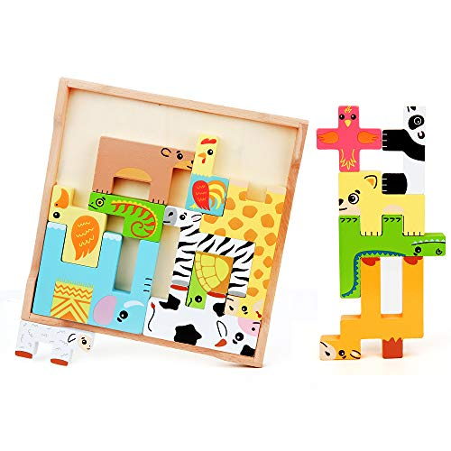 BeebeeRun Wooden Animal Jigsaw Puzzle - Animal Puzzle Brain Teasers Toy, Colorful 3D Animal Russian Blocks Montessori Toy, Early Learning Preschool Educational Gift for Toddler Kid