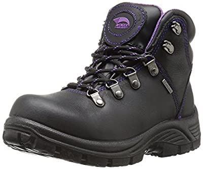 "FSI Avenger Women's 6"" Framer Steel Waterproof Leather Slip Resistant Safety Toe EH Hiker Work Boot, Black/Purple, 8.5 Medium"