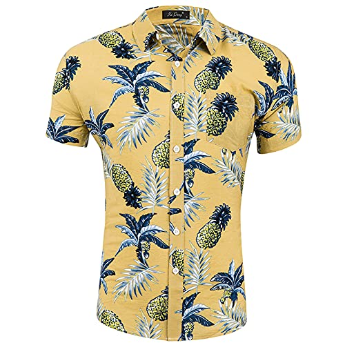 Tpingfe Mens Printed Hawaiian Tops Button Down Flower Beach Party Classic Summer T-Shirt Cotton Casual Shirt Breathable Yellow