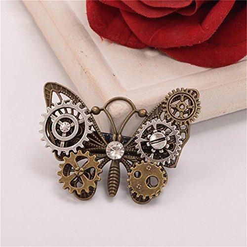 Girls Steampunk Gear Butterfly Wings Hair Clip Goth Punk Vintage Lolita Lady Headwear hair accessories (A01)