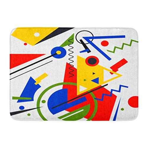 LiminiAOS Tapis de Bain paillassons Tapis de Porte extérieur/intérieur Bleu Kandinsky Abstrait géométrique coloré en suprématisme Rouge Mondrian décor de Salle de Bain Tapis Tapis de Bain