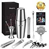 Anpro 15Pcs Cocktail Mix Set, 304 Stainless Steel,Boston Style Mix Set, Including Shaker,Cocktail