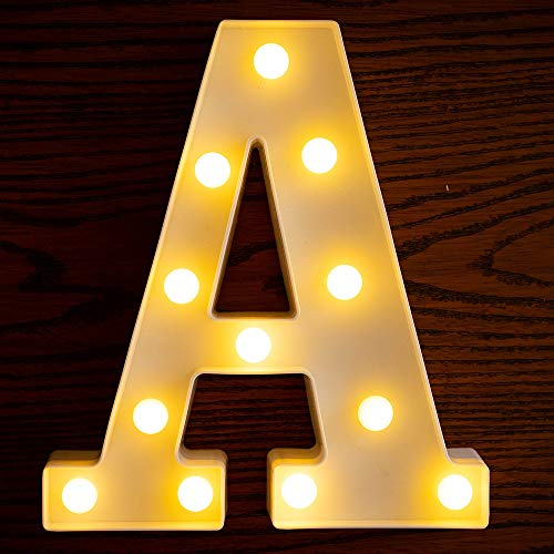 Yorulory LED Letter Lights Sign Letters Light Up Letters Sign for Night Light Wedding Birthday Party Battery Powered Christmas Lamp Home Bar (A)