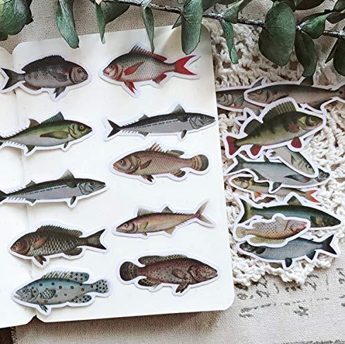 20 Stück Meeresfisch, Fisch Probe Bunte Dekoration Aufkleber zu DIY Ablum Tagebuch Bücher Bullet Journal Aufkleber Briefpapier