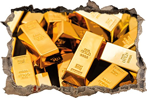 Stil.Zeit Eine große Menge an Goldbarren Wanddurchbruch im 3D-Look, Wand- oder Türaufkleber Format: 92x62cm, Wandsticker, Wandtattoo, Wanddekoration