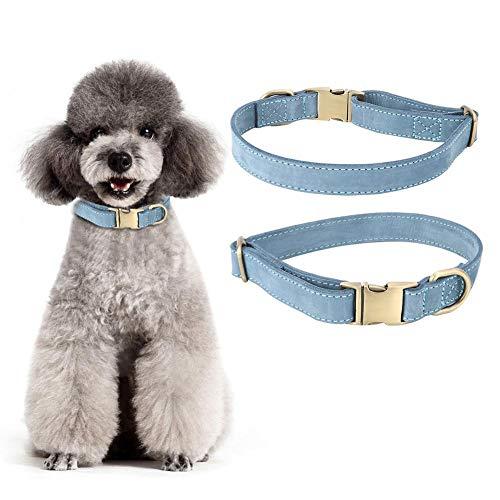 Hondenhalsband, verstelbare, zachte, antislip leren riem met halsband met gesp (L)
