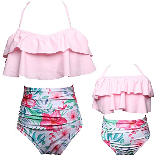 2Pcs Mommy and Me Matching Family Swimsuit Ruffle Women Swimwear Kids Toddler Bikini Bathing Suit Beachwear Sets (Pink, Women-S)