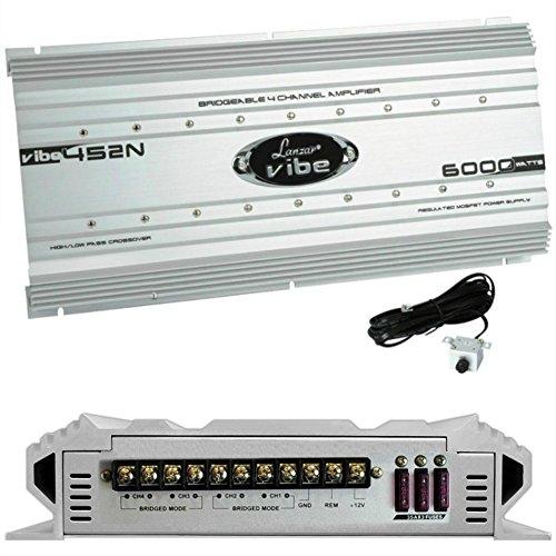 LANZAR VIBE452N 4-kanaals versterker 4 x 1250 watt rms voor deuren of subwoofer afstandsbediening van de remote sub inclusief zekeringen 105 ampère 6000 watt max