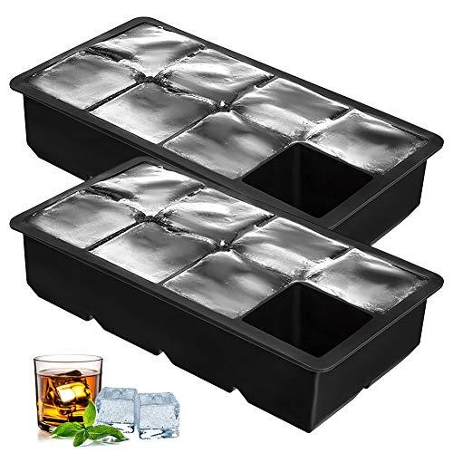 2pcs Stampi per Ghiaccio,Stampi in Silicone Stampi per Ghiaccio per cubetti di Ghiaccio Riutilizzabile Senza BPA per Acqua, Cocktail, Whisky e Altre Bevande 5CM Ghiaccio Grande 8 Cubetti Ghiaccio