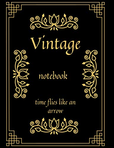 vintage notebook time flies like an arrow: creative planner agenda diary journal stationery school office supplies for Journal, Doodling, Sketching and Notes