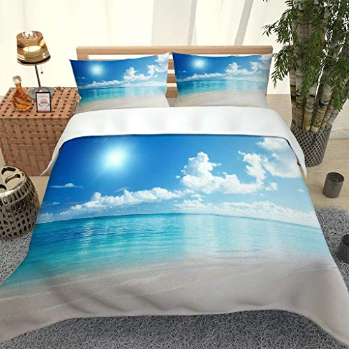 RQXRTR Super King Size Duvet Cover Sets 3 Pieces 3D Blue Sea Landscape Printed Bedding Sets Adult Quilt Covers With Zipper Closure With 2 Pillowcases, Soft Easy Care Microfiber 260X220cm