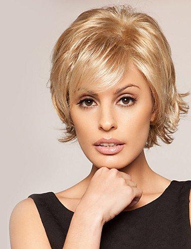 Perücke edle Fsahion Human Virgin Hair 1 'Monofilament Top Woman' s Kurze gewellte kappenlose Perücke