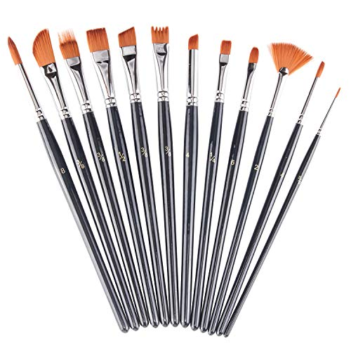 Paint Brushes Set 12 Pieces, heartybay Professional Fine Tip Paint Brush Set Round Pointed Tip Nylon Hair Artist Acrylic Paints Brush for Watercolor Oil Painting
