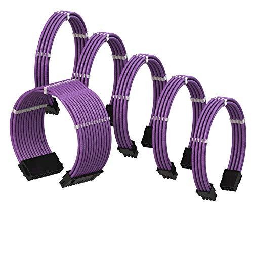 LINKUP - PSU Cable Extension Sleeved Custom Mod GPU PC Braided w/Comb Kit - Compatible with RTX3090┃1 x 24 P (20+4)┃2 x 8 P (4+4) CPU┃3 x 8 P (6+2) GPU Set┃30CM 300MM - Purple