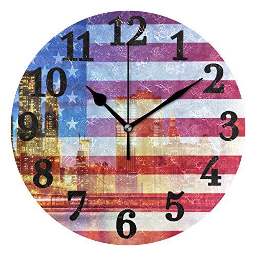 Ahomy American Flag New York City Zahlen Wanduhr 24 cm rund Uhr geräuschlos Nicht tickend...