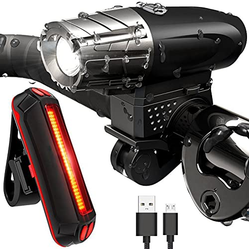 SAHWIN Luz Bicicleta Delantera Y Traseras Kit, 3 Modos IPX6 Impermeable Luz Bici LED Recargable USB - 300LM Luz LED Linterna Bicicleta para Carretera Y Montaña