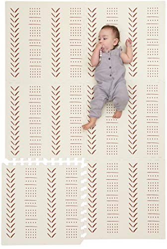 Childlike Behavior Baby Play Mat - Extra Large, Thick, Non-Toxic Foam Play Mat with Soft Interlocking Floor Tiles 72x48 Inches - Baby Floor Mat for Infants, Toddlers and Kids (Mudcloth - Beige)