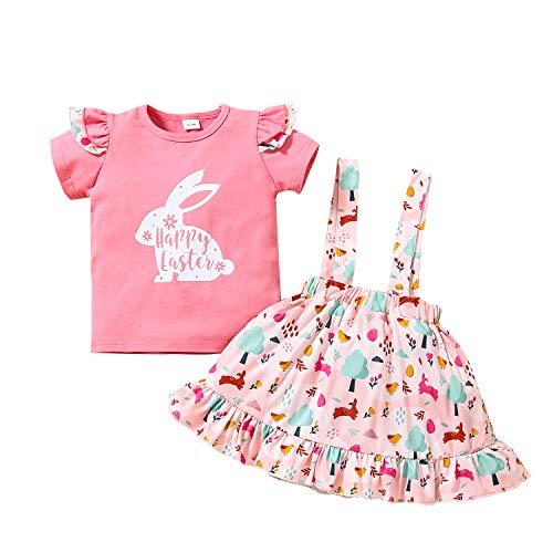 Bonfor 2 Piezas Ropa Niña 3 años Conjuntos Verano Moderna, Falda Niña + Blusa de Conejo - Vestido Bebe Niña 1 año Bautizo 2-5 años Ofertas (Rosa, 18-24 Meses)