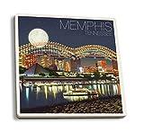 Lantern Press Memphis, Tennesseee - Skyline at Night (Set of 4 Ceramic Coasters - Cork-Backed, Absorbent)