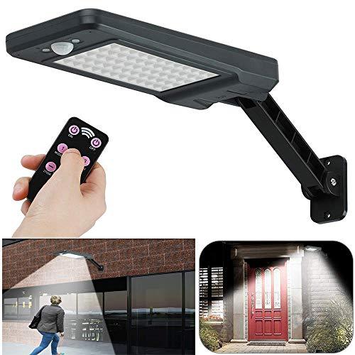 Lampara solar para exterior con detector de movimiento por infrarrojos de 120°, 900 lm, 60 LED, 3 modos, IP65, lampara solar para jardin con mando a distancia, para jardin, patio,