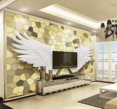 Tapeten Wandbild Tapete Benutzerdefinierte Wohnkultur Wohnzimmer Schlafzimmer Foto Nordic Moderne Gold Engel Flügel Mosaik Stein Wandbild