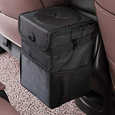 mixigoo Car Trash Garbage Bag Can - Car Trash Can with Lid and Storage Pockets Leak-Proof Vinyl from mixigoo