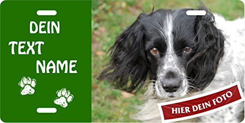 Holashirts Mallorca Hunde-Schild Blechschild Warnschild eigenes Foto Wunschtext selbst gestalten Metallschild Türschild 305x152mm für innen und außen