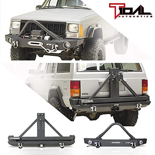 Tidal Stinger Front Bumper + Rear Bumper W Swing Away Tire Carrier Combo Fits 1984-2001 Cherokee XJ