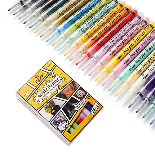 Acrylic Paint Marker Pens Extra Fine Tip Paint Pens for Rock Painting, Canvas, Wood, Glass, Craft Supplies, Fabric, Metal, Plastic, Ceramic, Mug, Tires, Card Making, DIY Photo Album (24 colors)