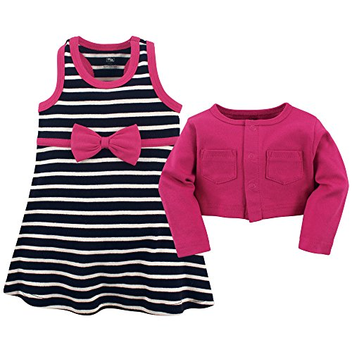 Hudson Baby Girls' Cotton Dress and Cardigan Set, Berry Navy, 9-12 Months