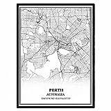 Perth Australien Karte Wandkunst Leinwand drucken Poster