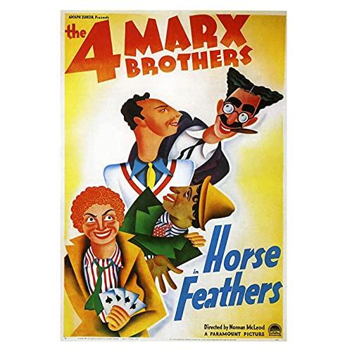 Tiiiytu Plumas De Caballo Vintage Groucho Y Carteles De Películas De Los Hermanos Marx Pinturas En Lienzo Cuadros De Arte De Pared Decoración del Hogar-50X70Cm Sin Marco