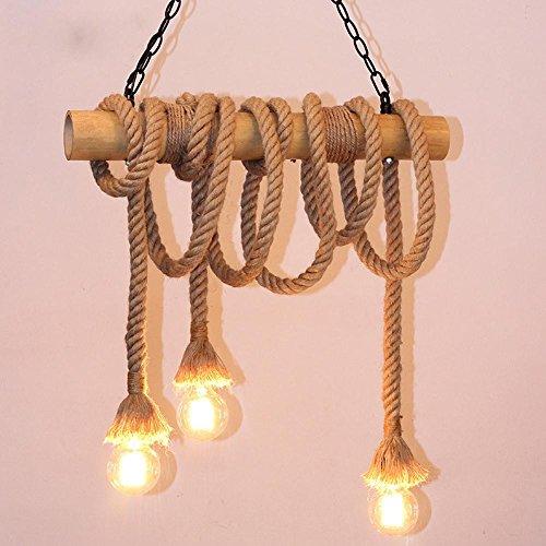 Vintage sfeerverlichting hanglamp retro home fashion henneptouw touw hanger industriële decoratieve lamp verlichting strijkijzeren kroonluchter voor woonkamer restaurants dakkoffer café E27 x 3 LED
