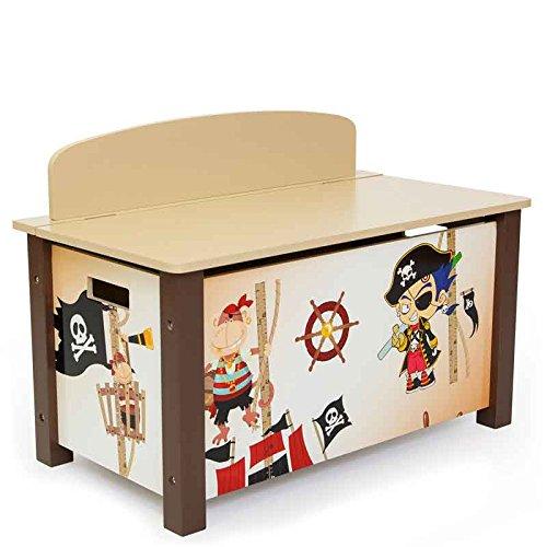 Caja baúl pirata para almacenaje de juguetes, 66x 50x 39cm.