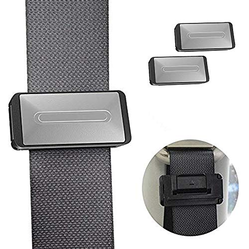 RED SHIELD Car Safety Seatbelt Clips. Vehicle Seat Belt Buckle Stopper Clamp Adjuster for Relaxing Neck & Shoulder. Reduce Irritation with Strap Positioner While Driving. Easy to Use. [2PK / Silver]