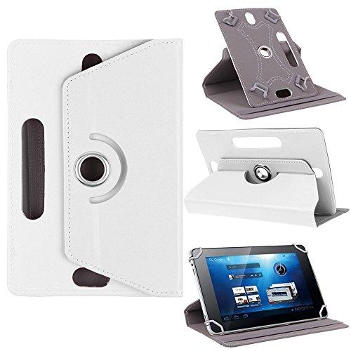 Funda universal para tablet de 10 pulgadas, con soporte universal para Tab de 10 pulgadas, rotación de 360 grados, varios ángulos de visión, efecto piel de color rojo