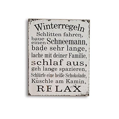 Loberon Dekoboard Winterregeln, MDF, H/B/T ca. 50/40 / 4,5 cm, antikweiß