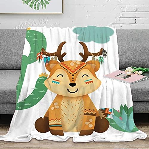 Manta súper suave y cómoda para niños con diseño de reno indio de acuarela para mantener caliente sofá, colcha de felpa, 130 x 180 cm