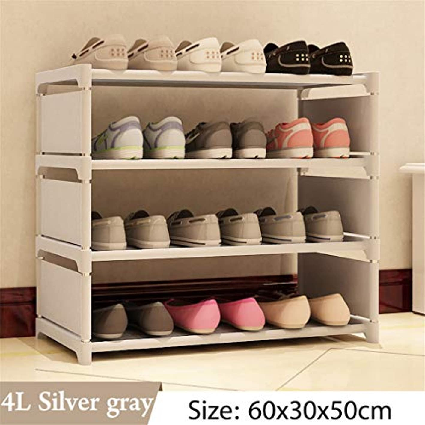 Multi Layer Shoe Rack Nonwovens Steel Pipe Easy to Install Home Shoe Cabinet Shelf Storage Organizer Stand Holder Space Saving 4L Silver Gray