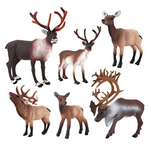 NUOBESTY 6 Pcs Mini Deer Cake Toppers Christmas Reindeer Figures Miniature Reindeer Elk Art Standing Forest Animals Toy Xmas Table Fireplace Centerpieces Miniatures Fairy Garden Ornaments