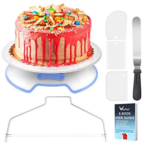 WisFox Decoración de Pasteles, Torta Giratoria con Herramienta de Pastelería, Cortador, Espátula de Formación de Hielo, Scrappers de Pastel