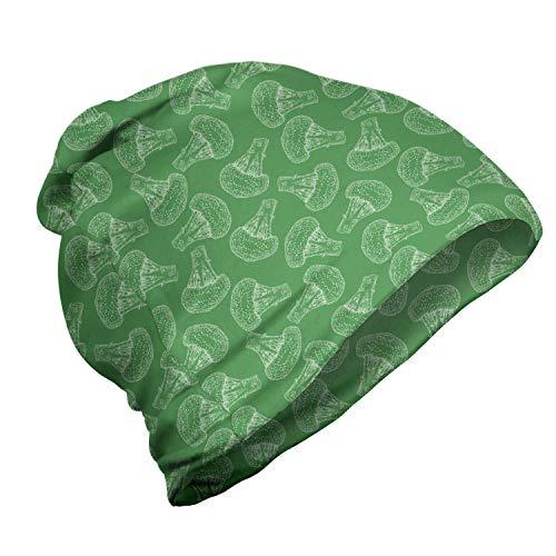 ABAKUHAUS Broccoli Unisex Muts, Repetitive Veggie Tekeningen, voor Buiten Wandelen, Varen Groen en Wit