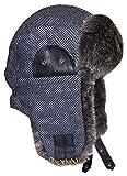 N'Ice Caps Boys Tweed Trapper with Faux Fur Lining (56cm (4-7yrs), Grey/Black Tweed)