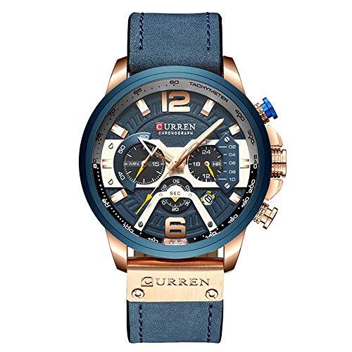PHCOOVERS 多針アナログ腕時計メンズ オシャレデザイン カレンダー ストップウォッチ 防水 多機能 柔らかい レザーバンド カジュアル 日本製クオーツ ウォッチ curren 8329 (ブルー)