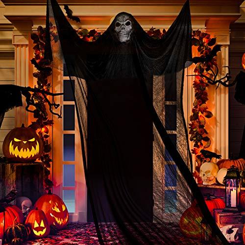 Whaline – Décoration d'Halloween fantôme à suspendre pour maison, cour, extérieur, intérieur, fête, bar, arbre, mur, véranda, porche, avant-toit, maison hantée, 3,3 m